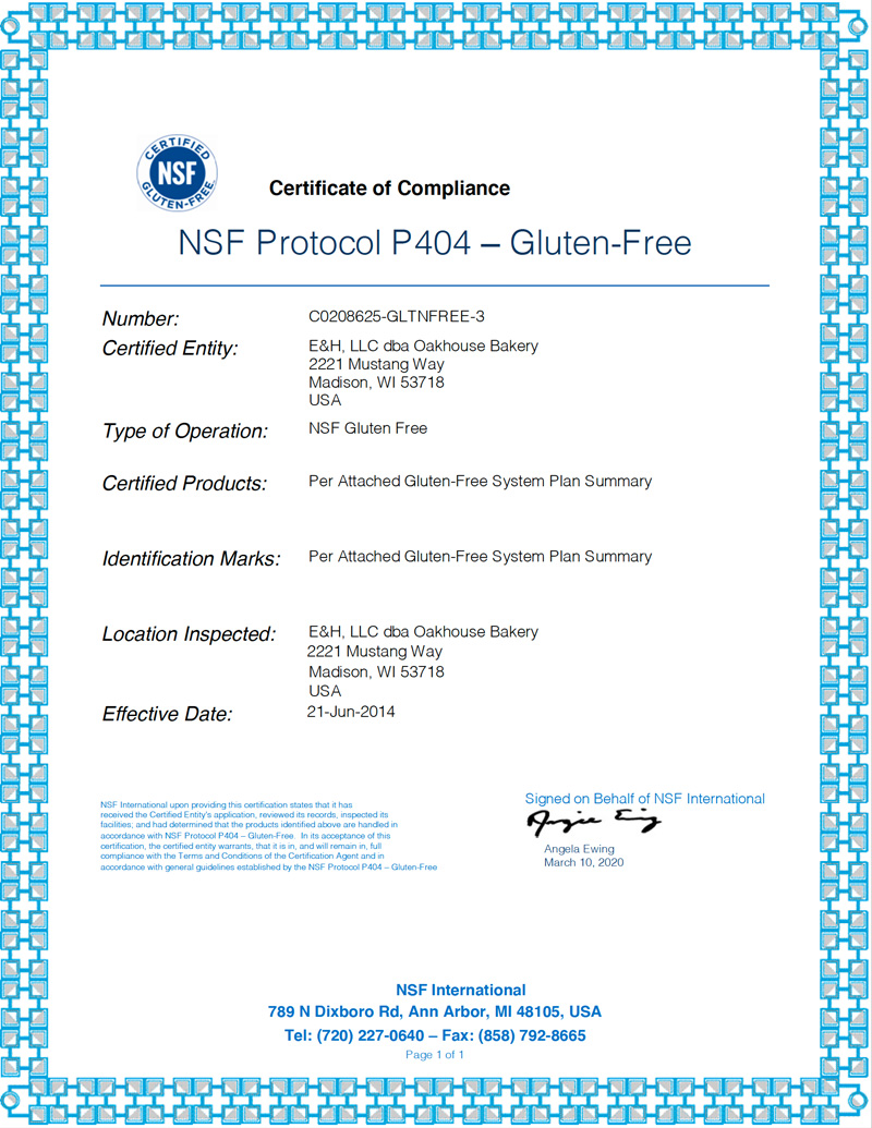 Gluten-Free Certificate