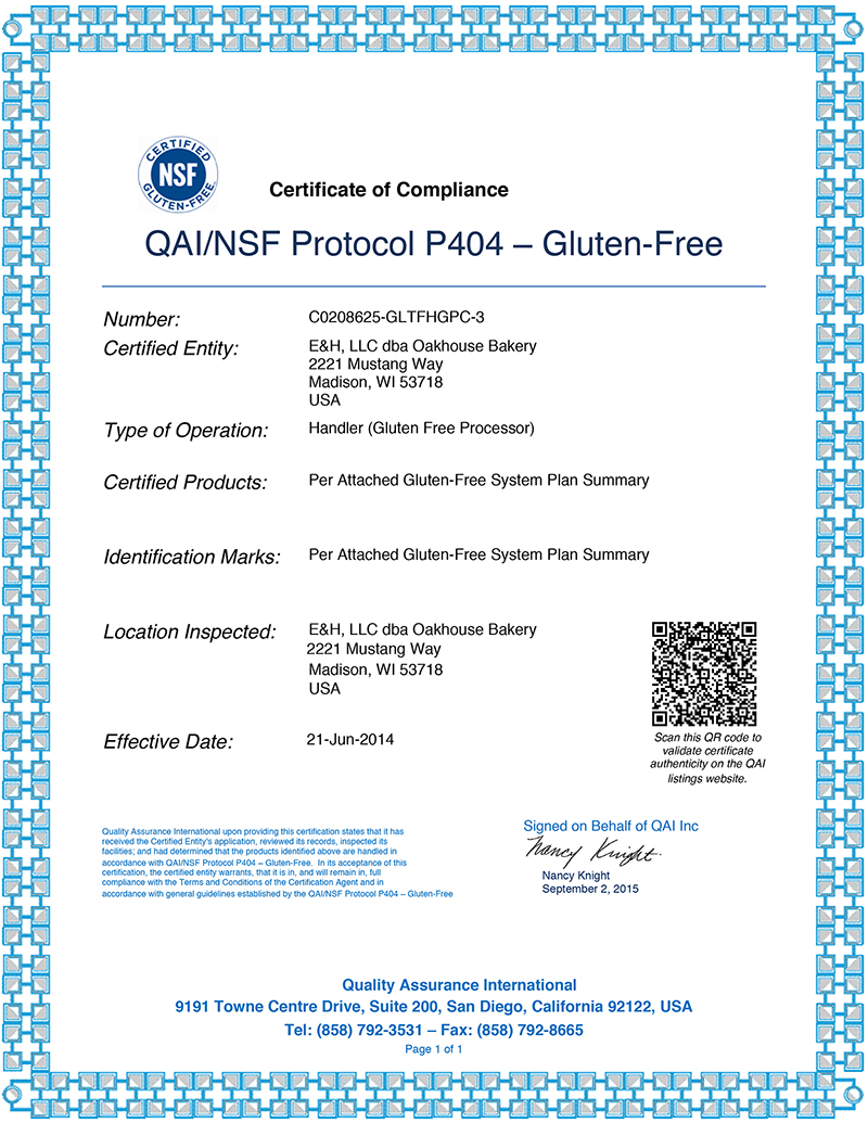 contract manufacturing oakhouse bakery certifications